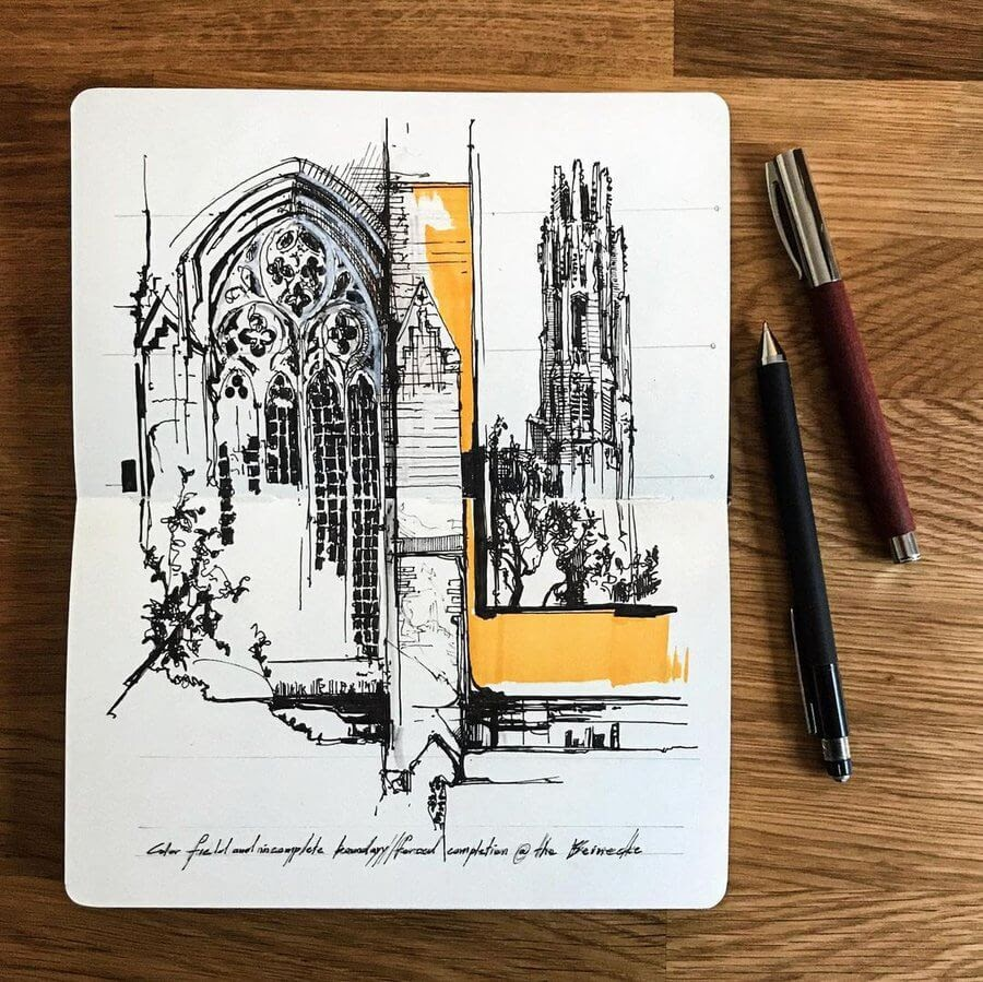 05-Gothic-church-Drawing-Jerome-Tryon-www-designstack-co