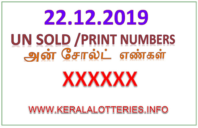 KERALA LOTTERY GUESSING UNSOLD NUMBER POURNAMI RN-423 DATED 22.12.2019