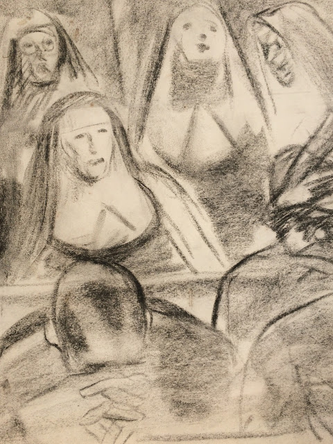 """Francis Quirk"" Image of Charcoal sketch of nuns and people praying in pews in Church"