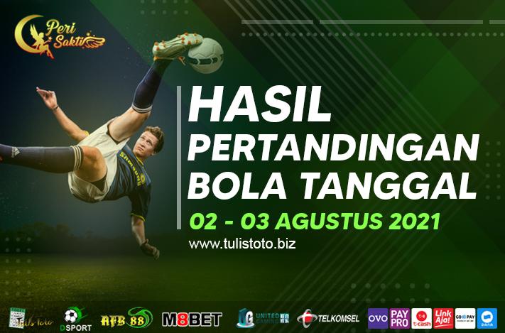 HASIL BOLA TANGGAL 02 – 03 AGUSTUS 2021