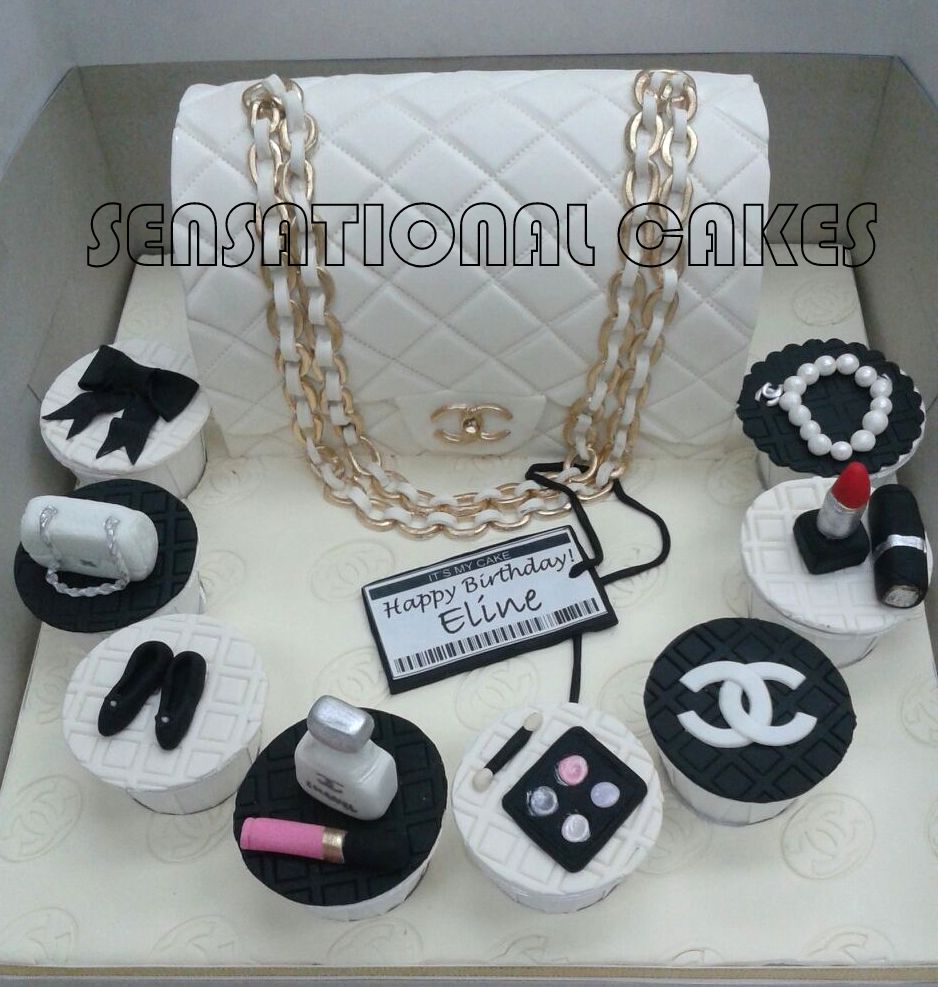 3baed85f804f CHANEL THEME 3D CAKE AND CUPCAKES # 2.55 BAG THEME CAKE # COCO NO 5  CUPCAKES # LIPSTICK RED # SIGNATURE BLACK AND WHITE THEME SET
