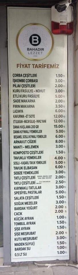 bahadir lezzet adapazari cark caddesi sakarya menu fiyatlari