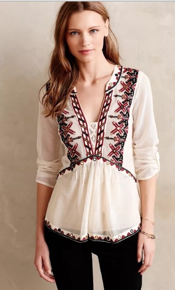 Peasant Boho Blouse with Classic Embroidery