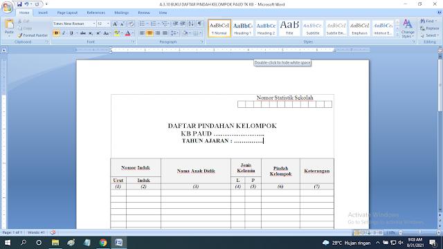 Download Contoh Buku Pindah Kelompok Anak Paud TK KB RA