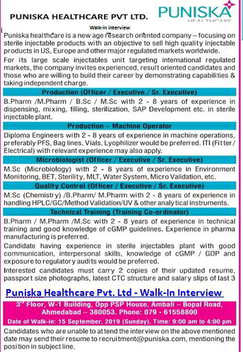 Puniska Health Care - Walk-in interview for Production/QC/Microbiology/Technical Training on 15th September, 2019