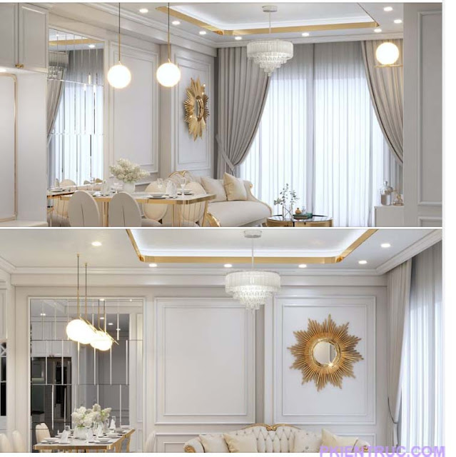 Hai góc render của nội thất cổ điển
