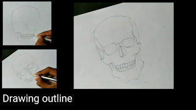 Drawing outline of skull, step by step tutorial of skull, learn to draw skull from graphite pencils,