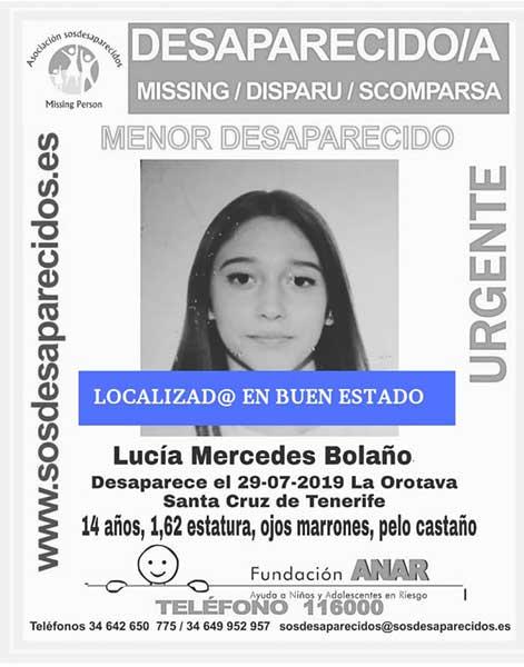 menor Lucía Mercedes Bolaño,desaparecida la orotava, tenerife,  localizada en en buen estado