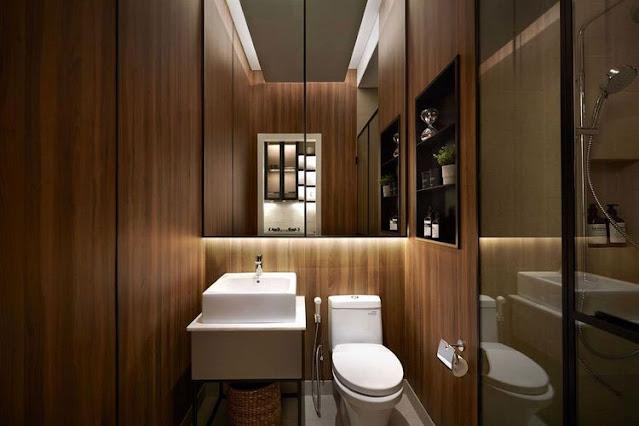 Desain kamar mandi aksen kayu minimalis