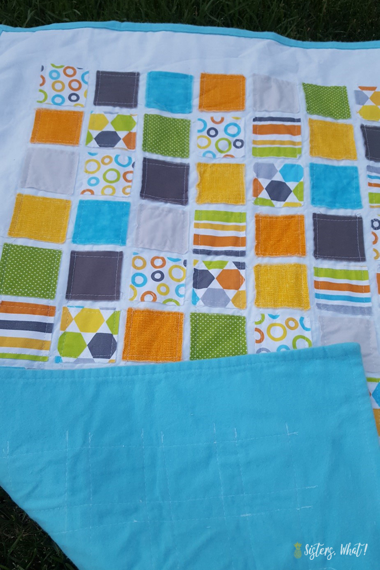a sewing tutorial for a raw edge squares quilt for the beginner sewist