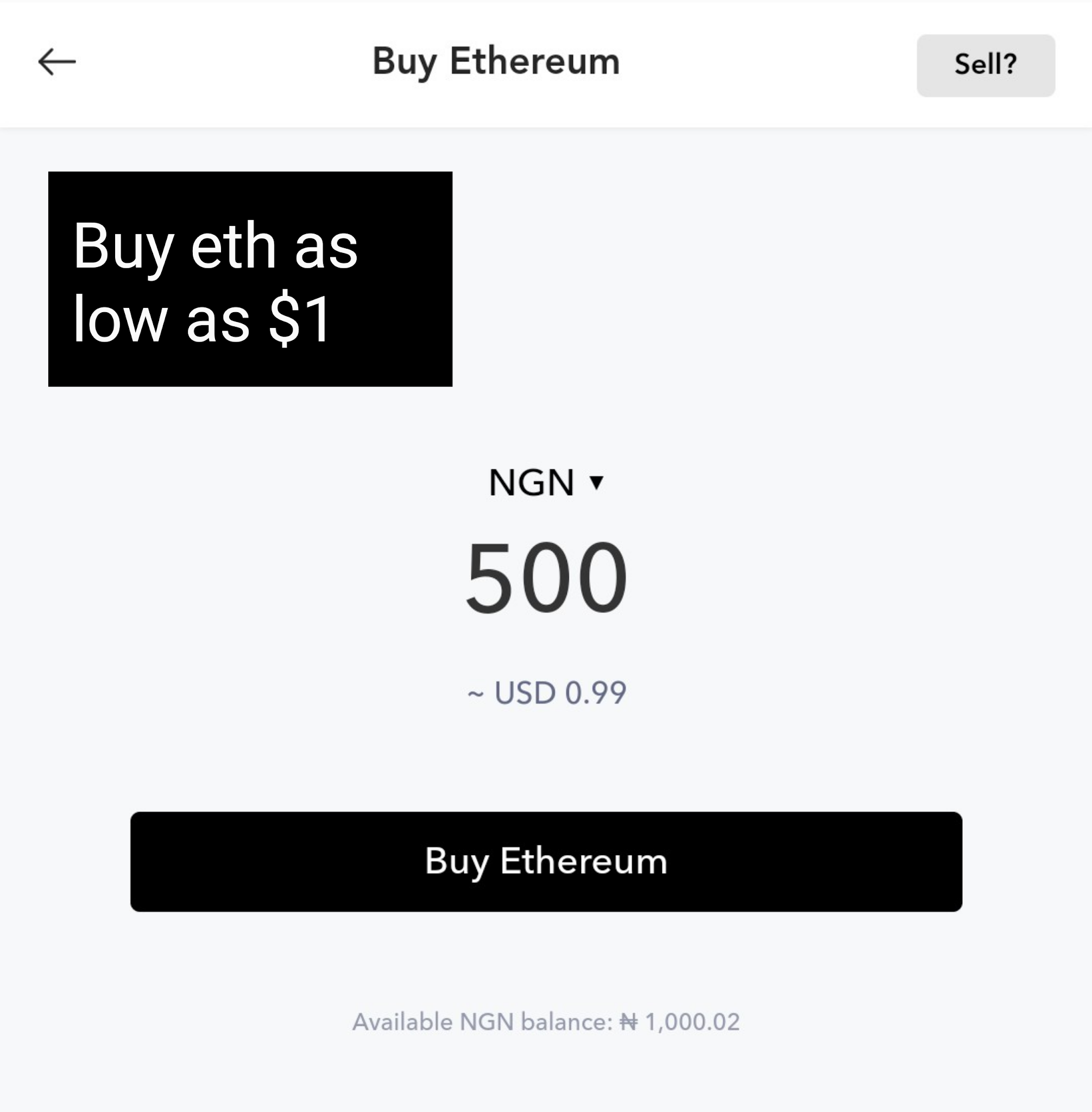 Buy crypto as low as NGN 500