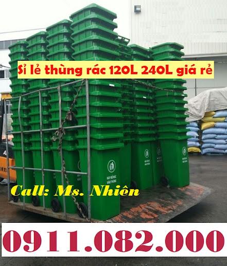 Thùng rác 120 lít 240 lít giá rẻ tại sóc trăng- thùng rác môi trường giá khuyến mãi-lh 0911082000