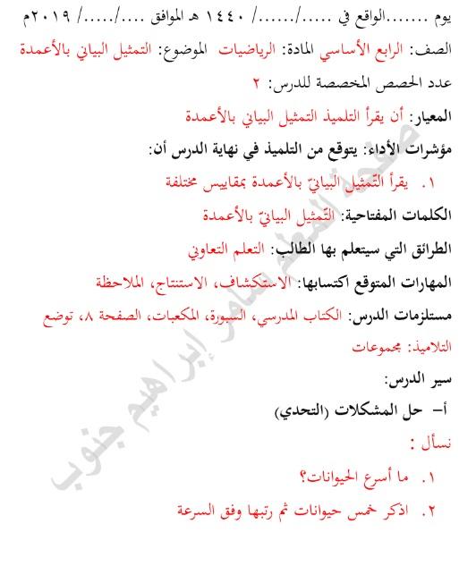 تحضير الدرس الأول والثاني من الوحدة الأولى اللغة العربية الصف الرابع الفصل الاول 2019-2020