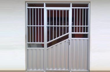 Portão em alumínio branco 38