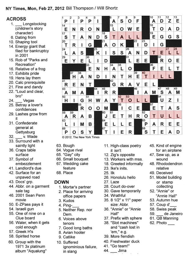 The New York Times Crossword in Gothic: February 2012