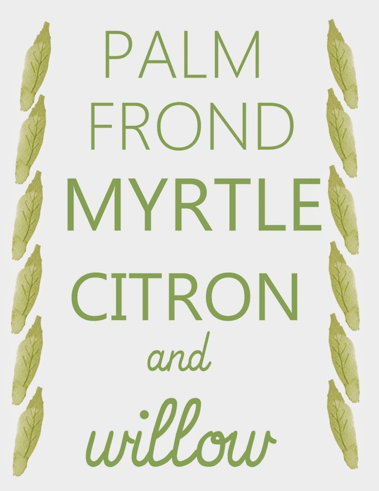 palm frond, myrtle, citron, and willow Sukkot printable | Land of Honey