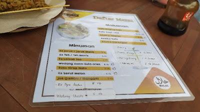 Daftar menu Limasan sf turi