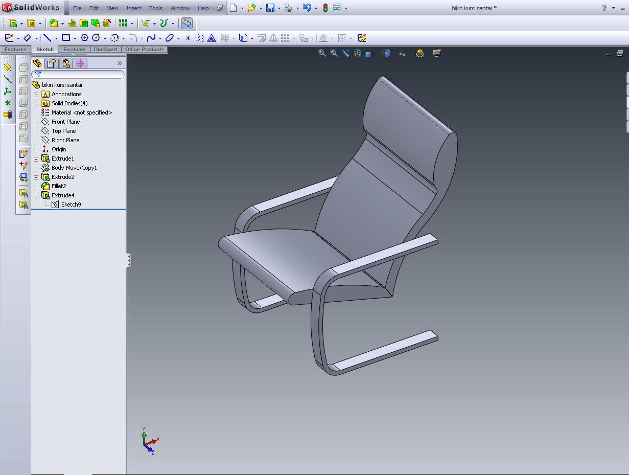 chair design solidworks balcony table and sets simple tutorial make a back of the