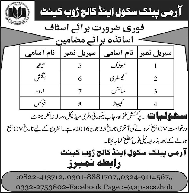 Army Public School & College Jobs for Teachers in Zoob