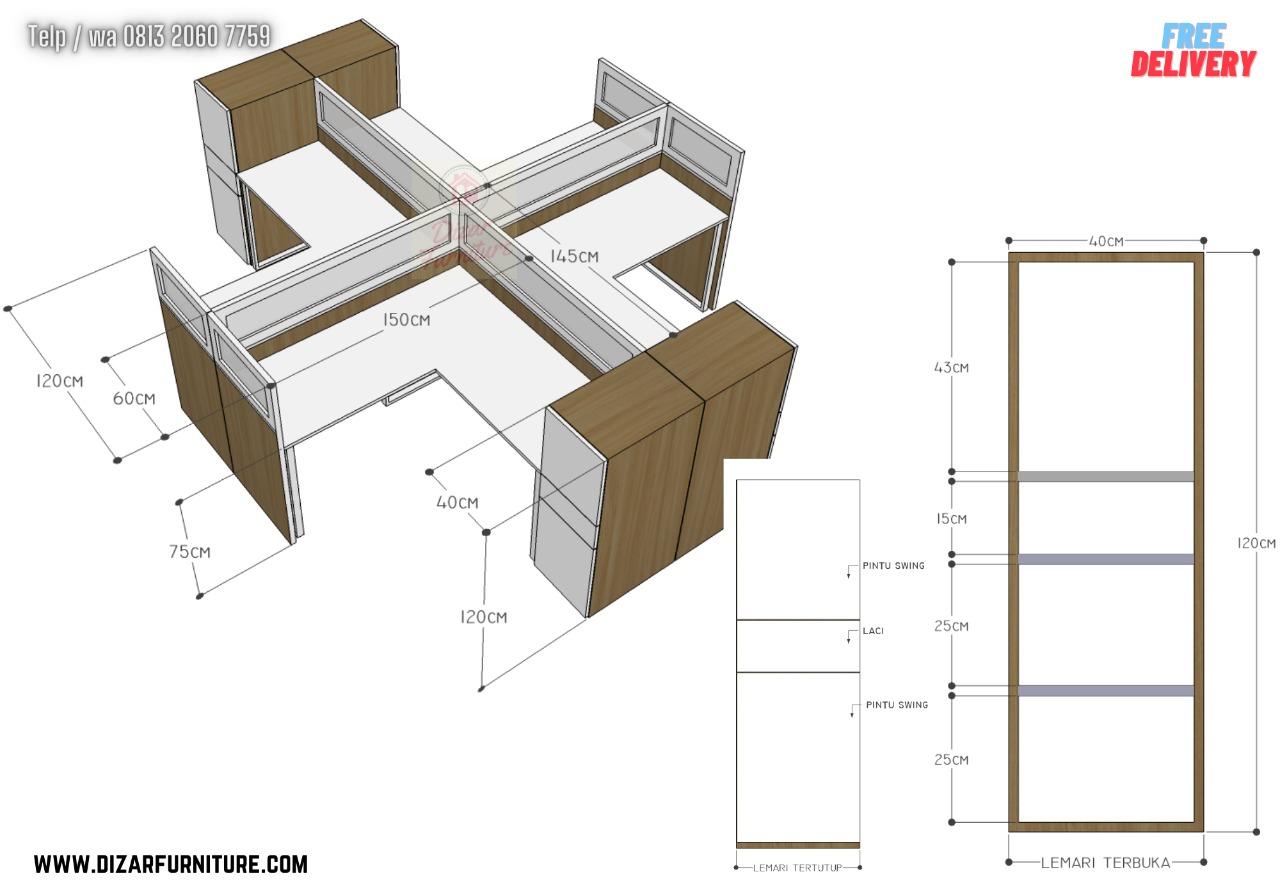 Meja Cubicle untuk 4 orang
