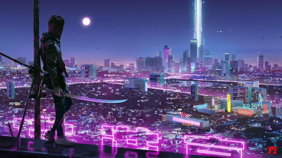 Sci-Fi, City, Neon, Lights, Ninja, Katana, 4K, #6.429