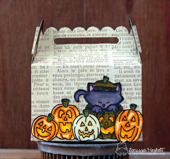 Halloween Treat Holder with Cat & Pumpkins by Larissa Heskett | Newton's Boo-tiful Night Stamp set by Newton's Nook Designs #newtonsnook