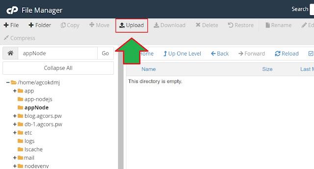 posisi tombol upload file manager di cPanel
