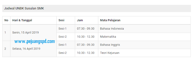 Jadwal Ujian Nasional Susulan SMK T.A 2019/2020