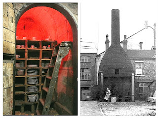 Inside the muffle kiln chamber at Gladstone Pottery Museum and outside a muffle kiln in Longton