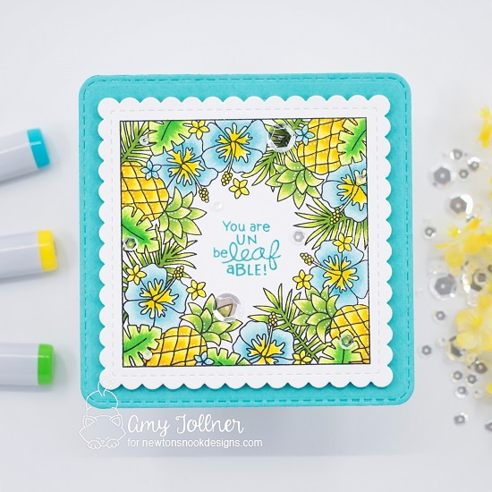 You're unbeLEAFable by Amy features Tropical Fringe and Frames Squared by Newton's Nook Designs; #inkypaws, #newtonsnook, #cardmaking, #tropicalcards