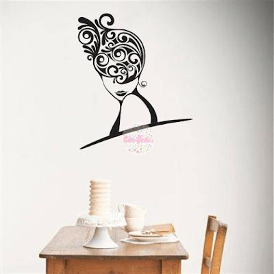 vinilo decorativo pared mujer femenino peluquería, peinado, retro, floral, le femme