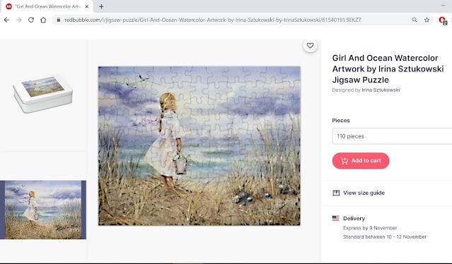 Girl and Ocean painting by Irina Sztukowski on puzzle