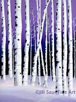 winter aspen tree painting