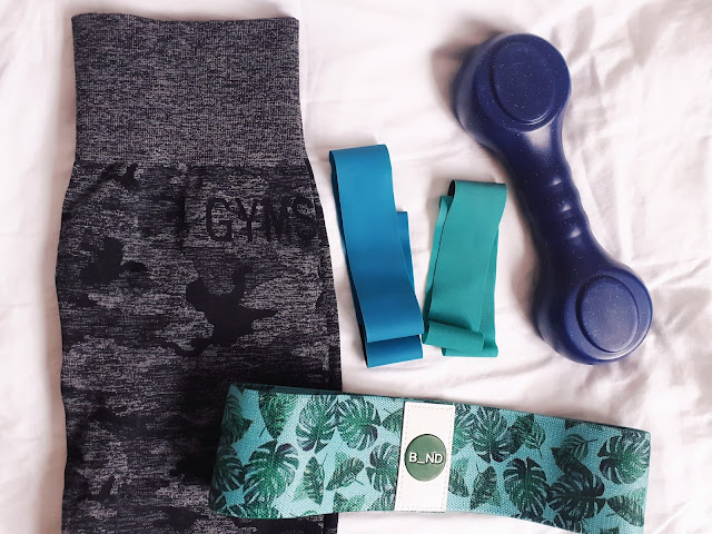 gym shark leggings b_nd resistance bands and dumbell flatlay