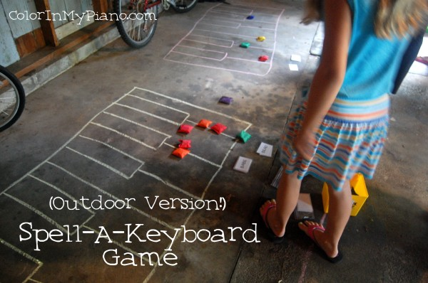 Spell a keyboard game - 5 ways for kids to learn about music using sidewalk chalk from And Next Comes L