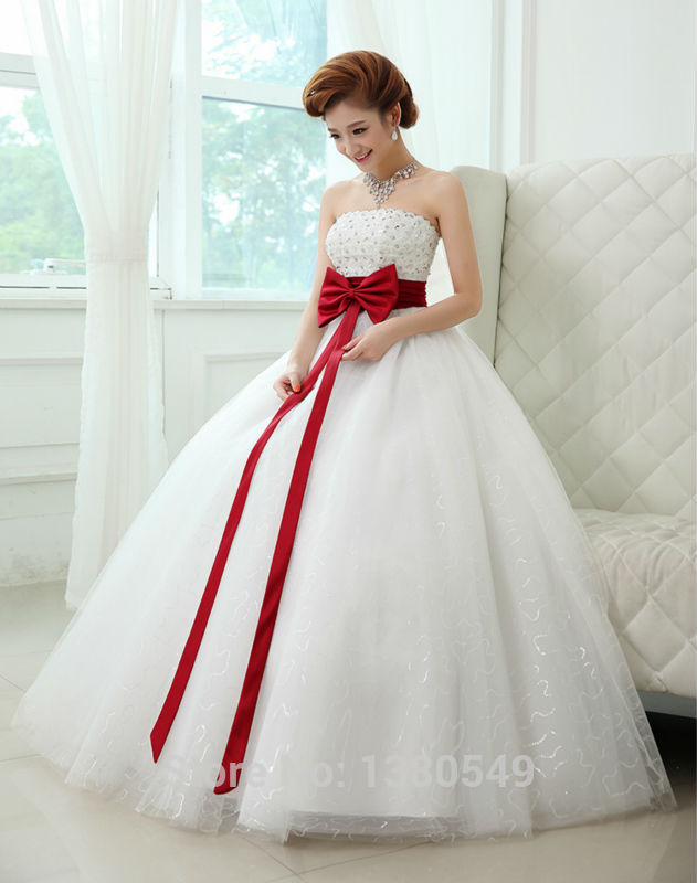 White and Red Big Ball Gowns | bridal wedding ideas
