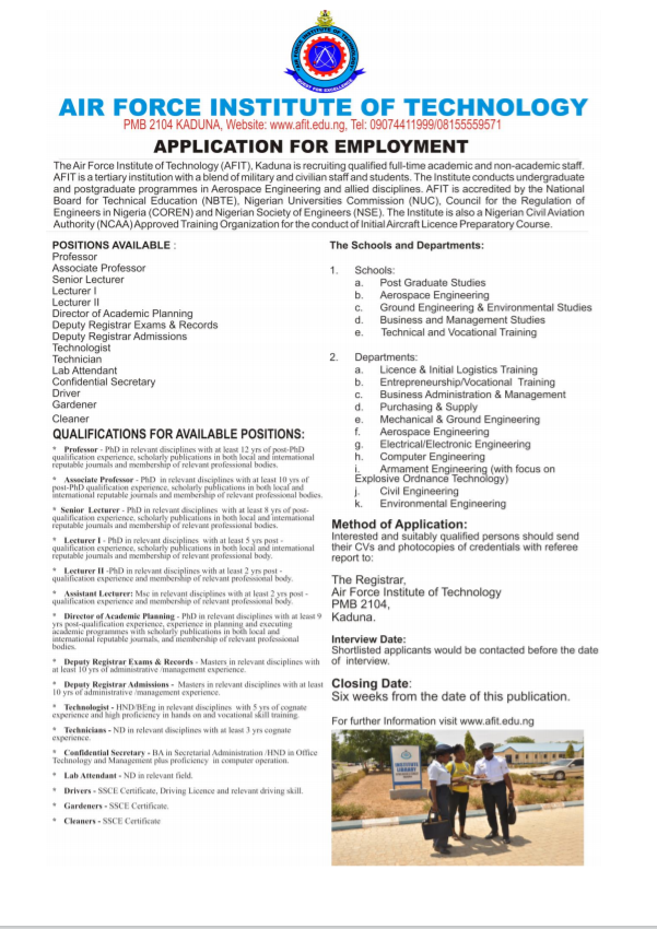 Air force institute of technology Application for employment