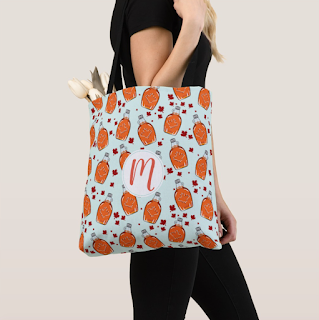 Zazzle Maple Syrup Pattern Monogram Tote