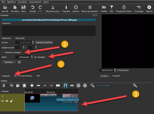 creare una sequenza di immagini con shotcut
