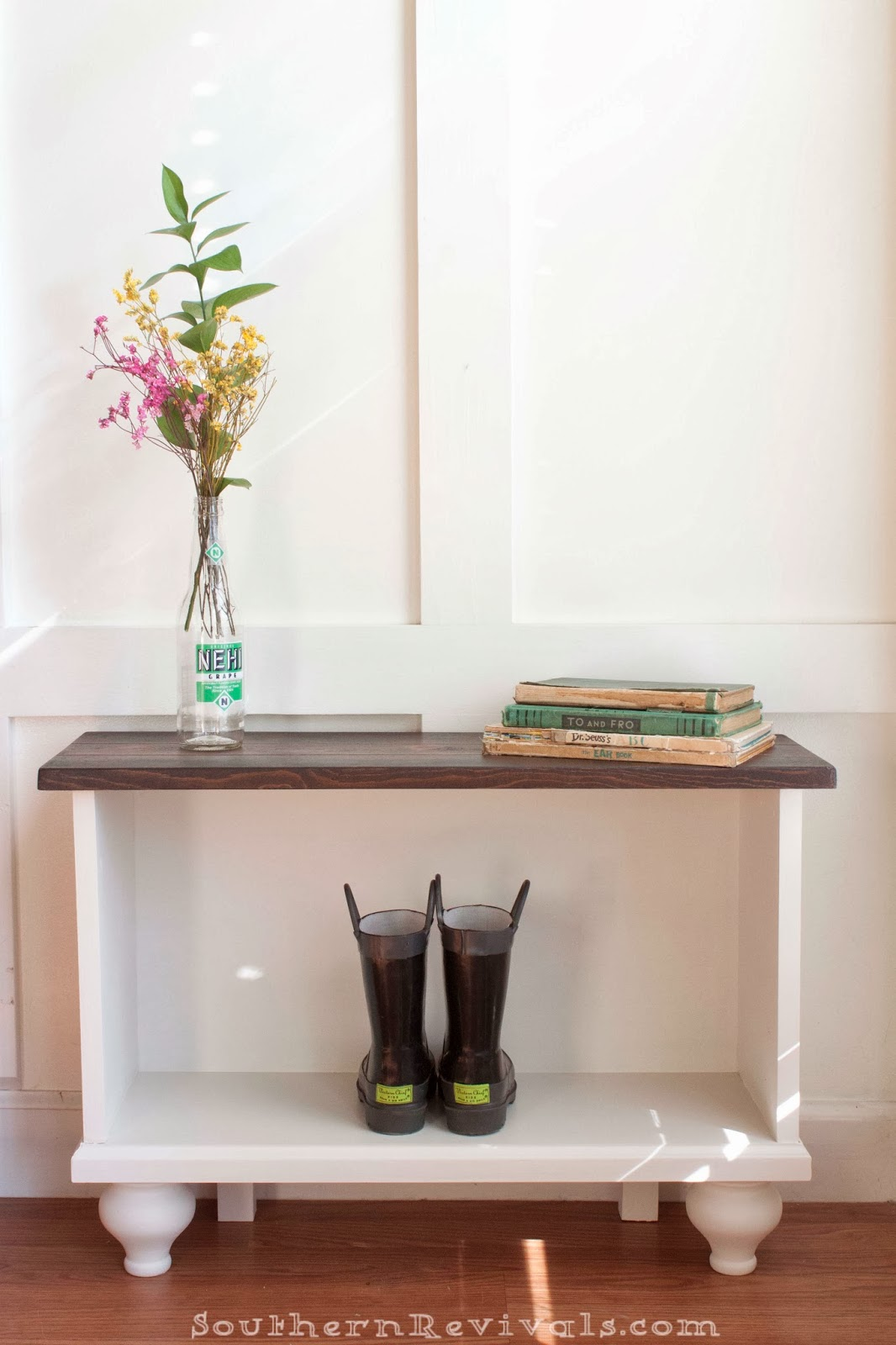 a storage bench for small entryway space southern revivals. Black Bedroom Furniture Sets. Home Design Ideas