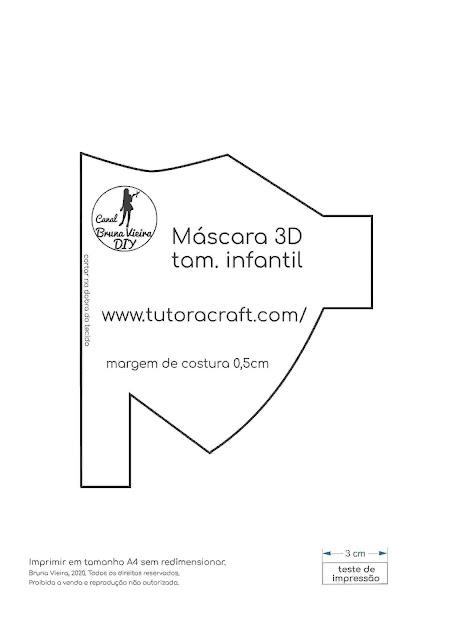 Novo modelo de máscara 3D infantil com molde gratuito