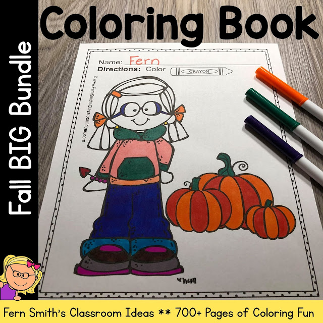 Fall Coloring Pages Bundle Printable Distance Learning #FernSmithsClassroomIdeas