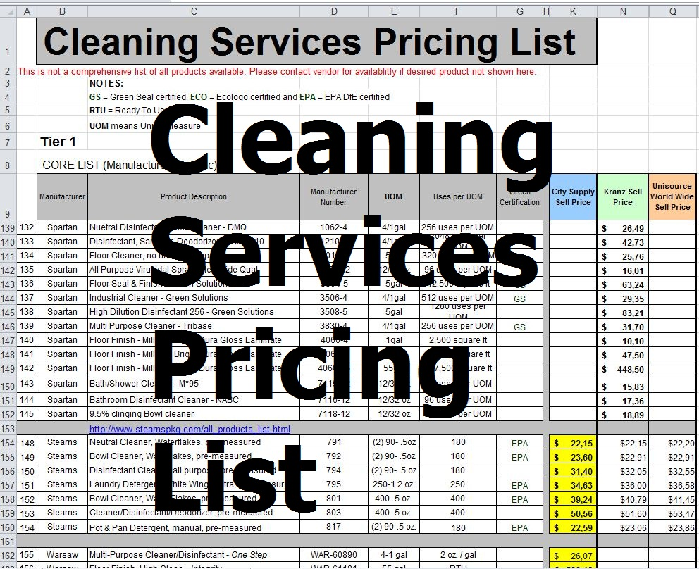 cleaning services pricing list