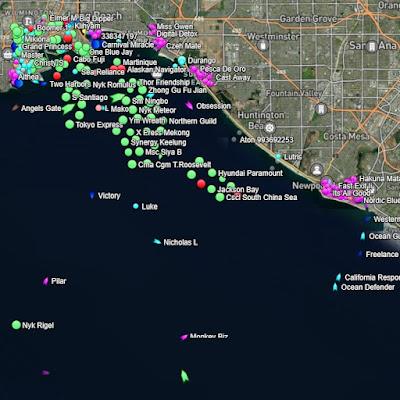 Long Beach cargo ships map