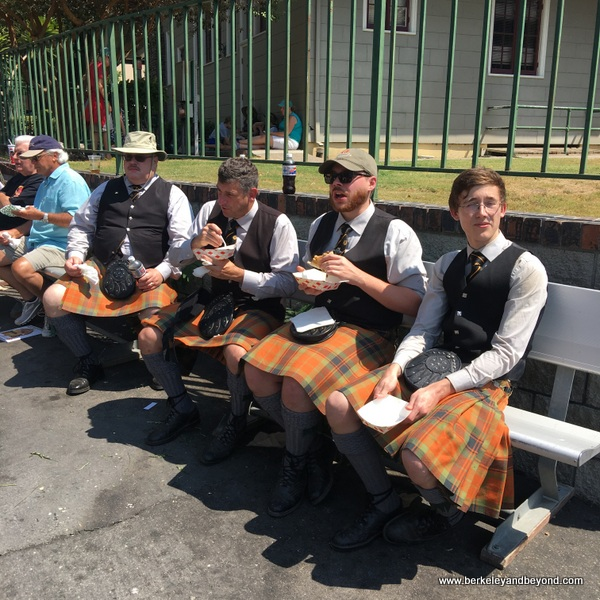 bagpipers lunching at the 2018 Scottish Highland Gathering & Games in Pleasanton, California
