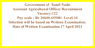 Assistant Agricultural Officer Recruitment -  Government of  Tamil Nadu