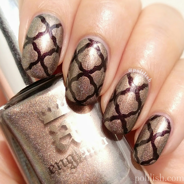 Quatrefoil nail art featuring A-England 'Virgin Queen' and 'Incense Burner' | polilish