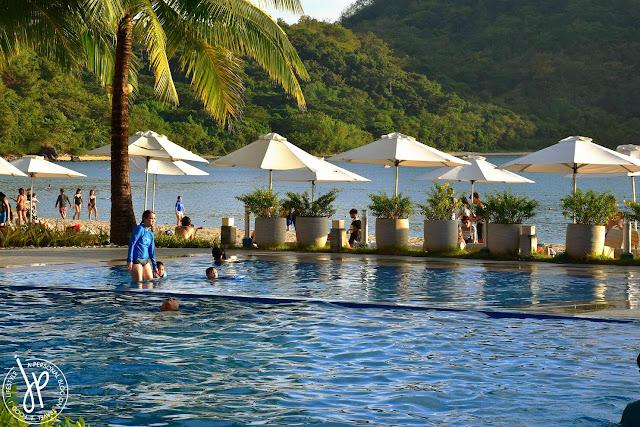 infinity pool, coconut trees, beach, beach umbrellas