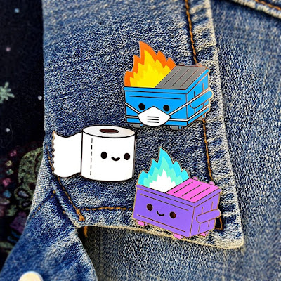 San Diego Comic-Con 2020 Exclusive Dumpster Fire & Lil TP Pins by 100% Soft