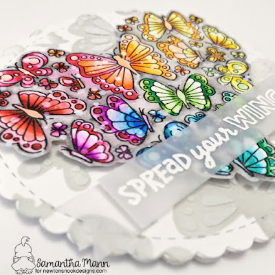 Spread Your Wings Card by Samantha Mann for Newton's Nook Designs, Shaped Card, Stencil, Distress Inks, Ink Blending, Die Cuts, Fussy Cutting, butterflies, #newtonsnookdesigns #newtonsnook #cards #cardmaking #butterflies #shapecard